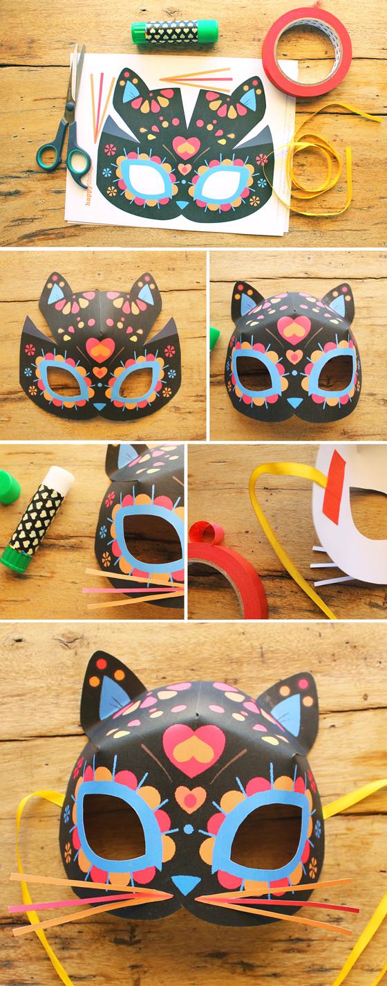 Day of the Dead or Dia de los Muertos calavera cat mask template!
