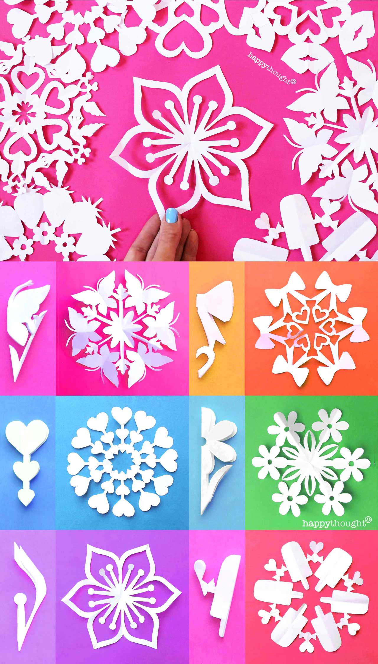 12 templates and patterns for St valentines day snowflake decorations
