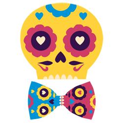 dia de los muertos skull calavera mask bowtie