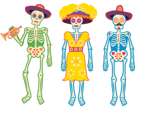 3 day of the dead skeletons!