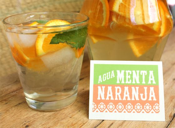 agua menta naranja non alcoholic party drinks free printable