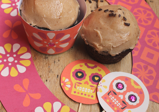 How to make spicy chocolate cupcakes for day of the Dead!