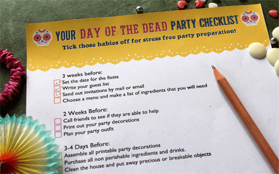 dia de los muertos or day of the dead party advice - check list printables for parties