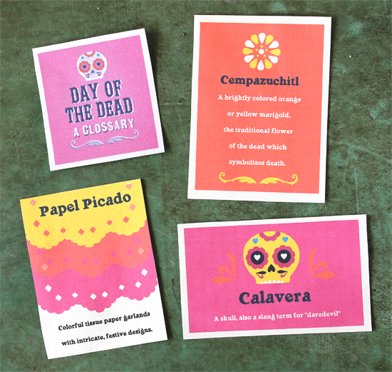 dia de los muertos or day of the dead glossary printables for parties