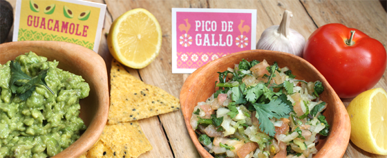 Day of the Dead food: Guacamole and Pico de Gallo printable labels or signs
