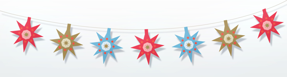 star garland for folksy happythought three kings