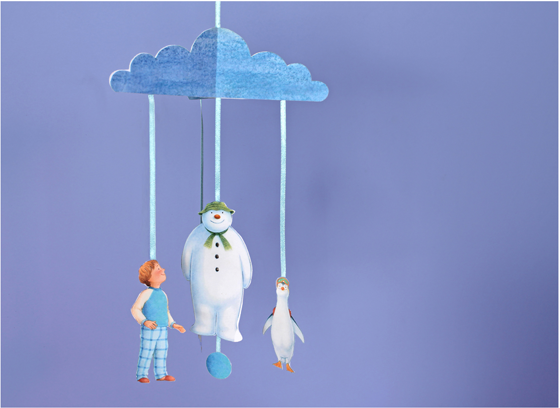 mobile garland craft with snowman boy snowdog