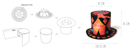 """Circus top hat:: mini paper top hats with 'roll up, roll up"""""""