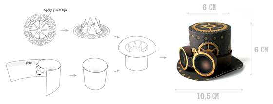 steampunk top hat quick printable no sew template instructions