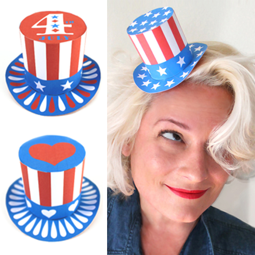 July 4th crafts: Paper mini top hats