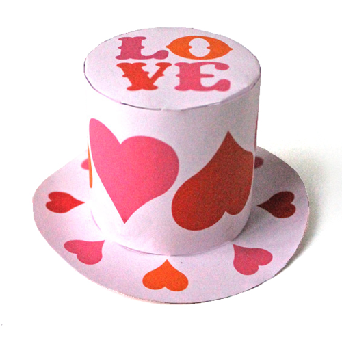 love saint valentines paper top hat mini