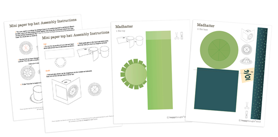 Templates for mad hatter hat. Green with label mini printable paper top hat!