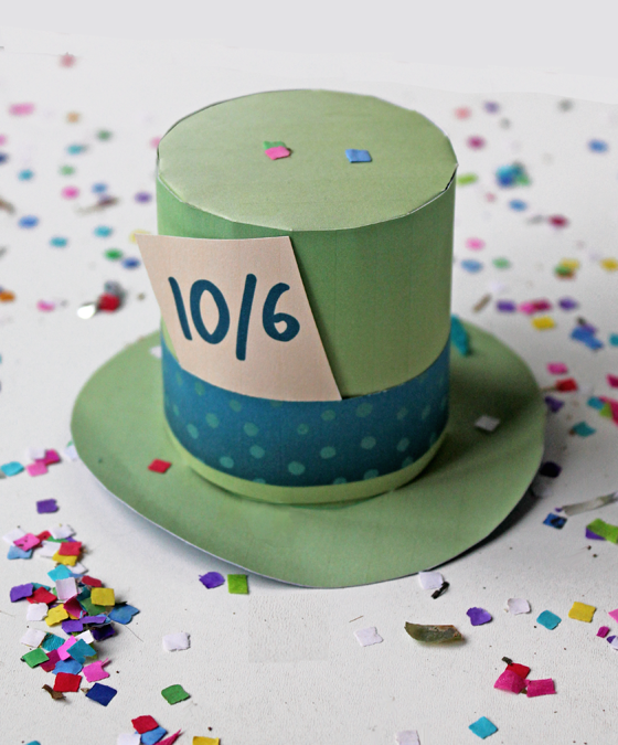 Green mad hatter hat for parties and dress up instant download