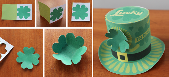photo template St Patricks Day top hat paper craft mini costume