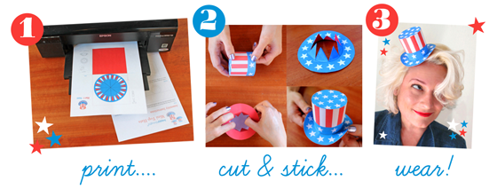 instruction and step by step on how to make a paper hat july 4th