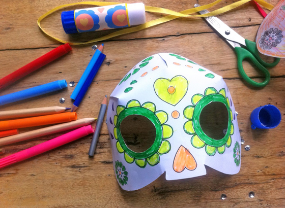 color in day of the dead mask craft for dia de los muertos