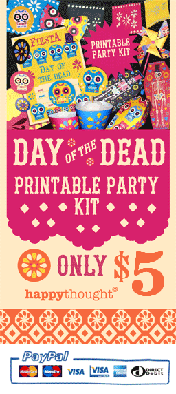 Instant Day of the Dead or el Dia de los Muertos DIY party celebration templates