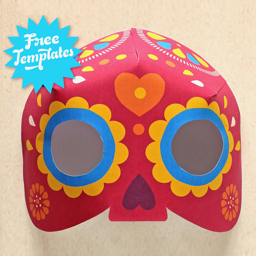 Dia de los muertos mask craft easy diy calavera mask for Day of the dead skull mask template