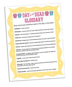 dia de los muertos glossary cards to print