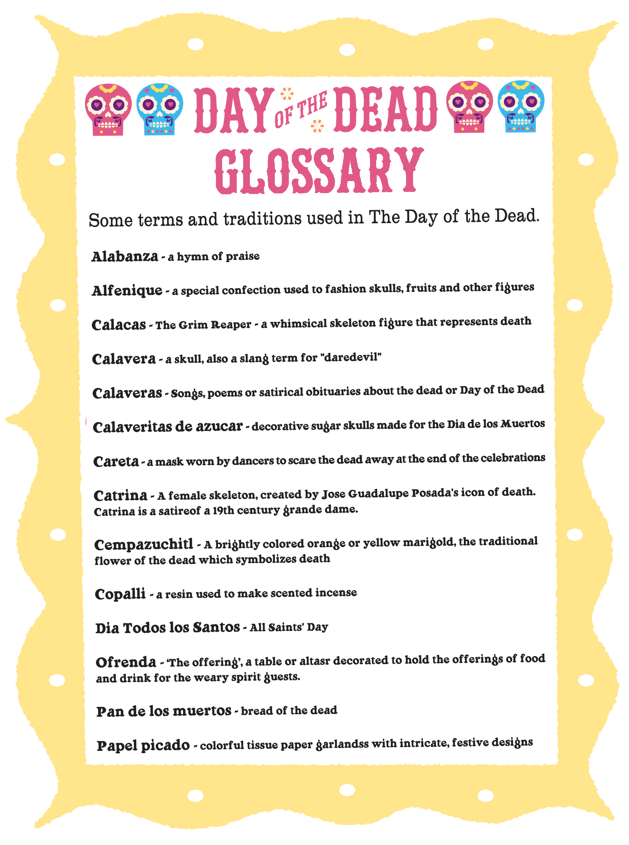 Printables Day Of The Dead Worksheets day of the dead glossary dia de los muertos terms traditions download a concise using form here