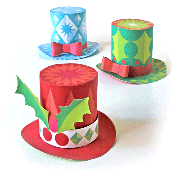 Charming Christmas Party Hat Ideas Part - 12: 3 Mini Paper Festive Top Hats Christmas Holidays ...