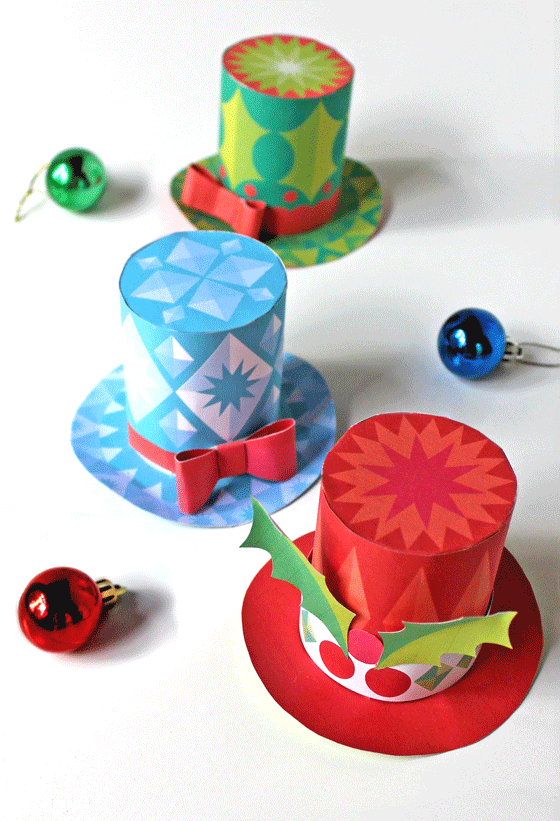 Holiday festive paper hats. Free no-sew mini top hat ...