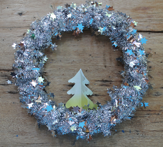 tutorial templates patterns make tinsel wreath diy easy silver