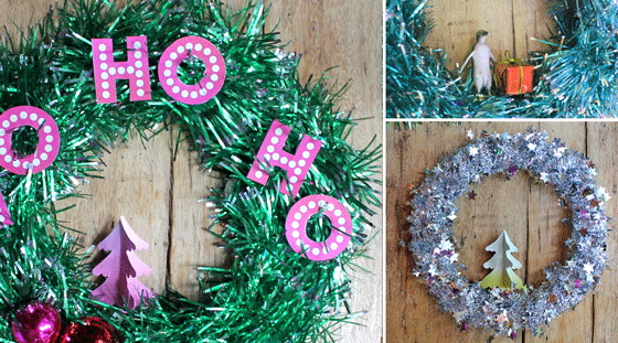Festive DIY tinsel wreath for the holidays!