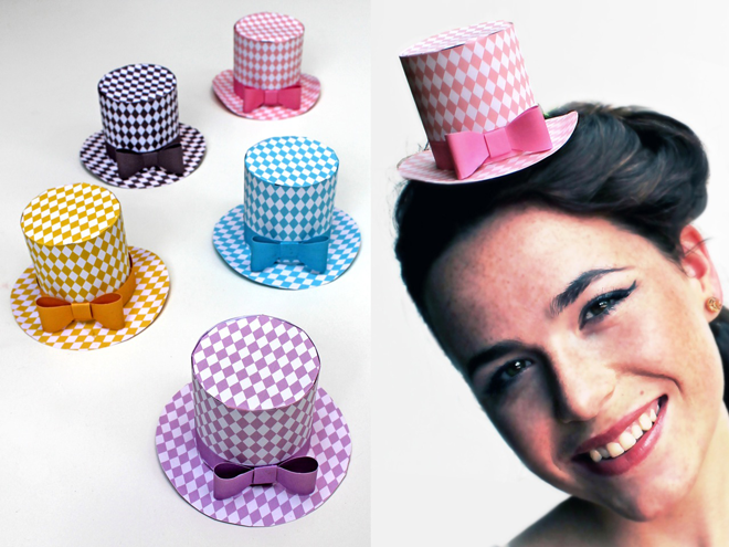 Mini paper top hats for parties (con imágenes) | Sombreros de ... | 495x660