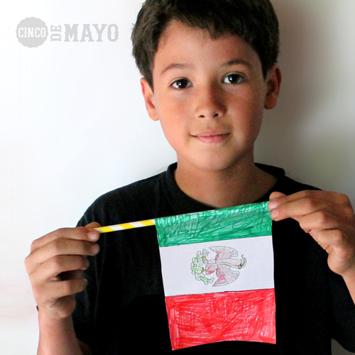 Cinco de Mayo worksheets PDF. Make color-in mexican flag!