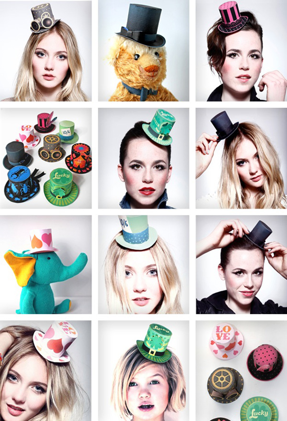 Fashion paper couture mini top hats