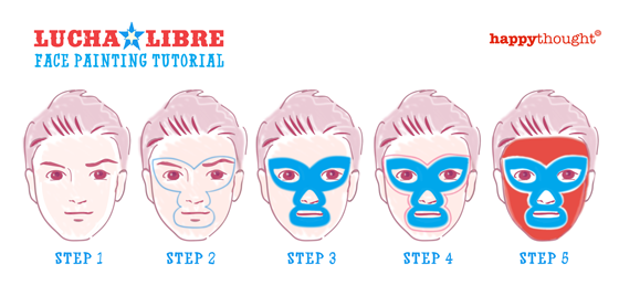 Lucha libre face paint tutorial step by step: Cinco de Mayo mexico festival celebration!