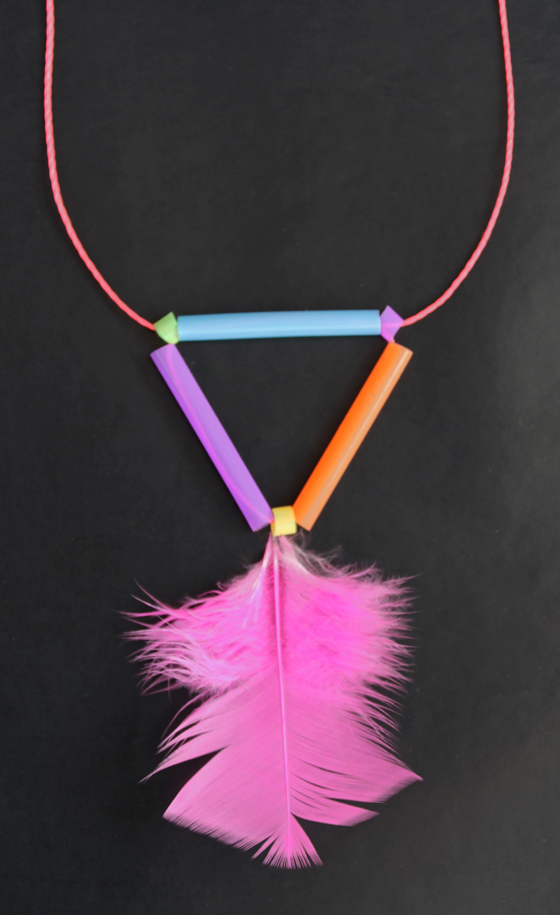 kids easy feather-geometric straw necklace