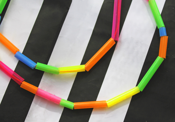 black and white eighties stripes neon drinking straw necklaces craft activity