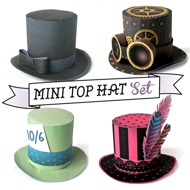 Have a hat on your head in no time! 4 no-sew mini top hat templates ...