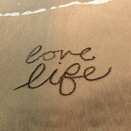 live life beach-calligraphy ritoque beach south america
