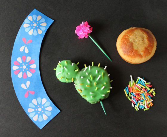 what you will need to make cactus cupcakes