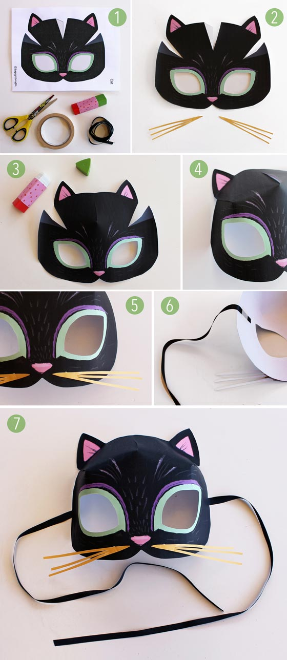 caterpillar mask template - animal mask templates to print and play meow cat