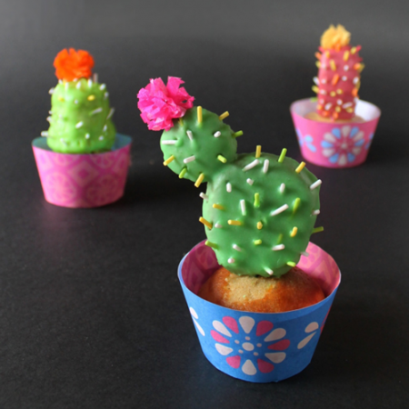 3 cactus cupcakes for day of the dead or dia de los muertos