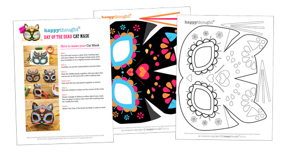 Cat mask template for dia de los muertos day of the dead for Day of the dead skull mask template