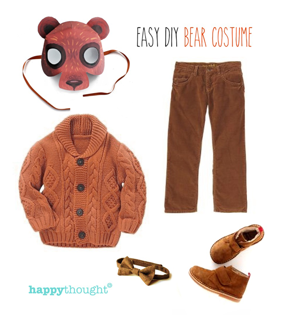 Animal bear costume ideas- Easy throw togther bear costume with tiger mask