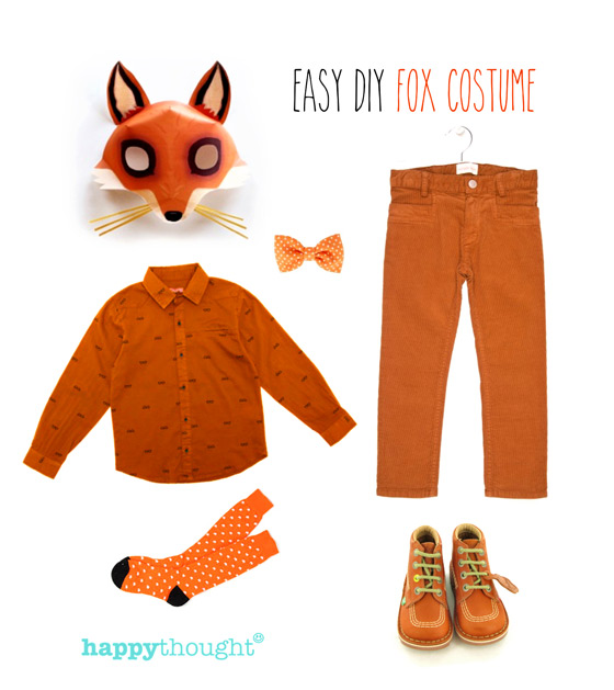 Easy to throw together fox costume with fox mask
