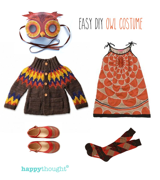 Easy throw together owl costume with owl mask