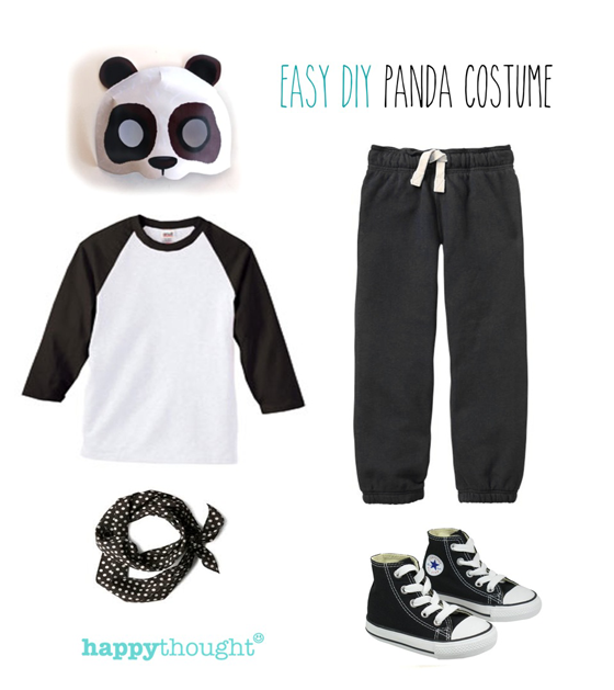 Easy to throw together panda costume with paper mask