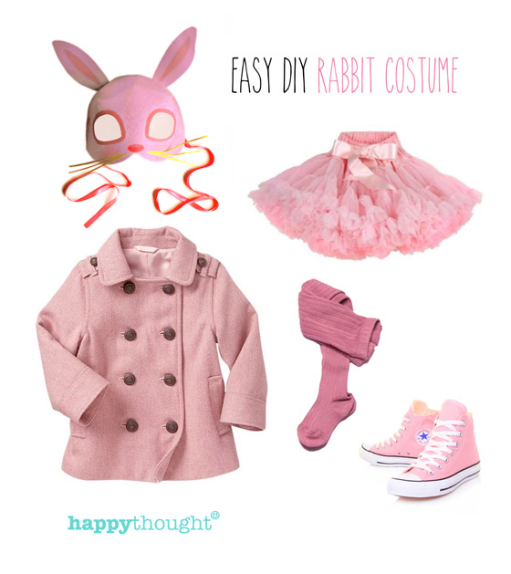 Easy to throw together rabbit costume with rabbit mask