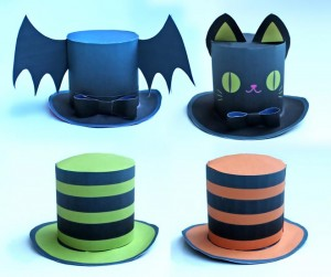 Halloween mini paper top hats pattern or template!