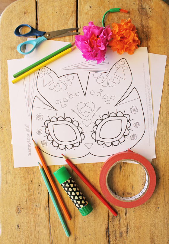 Easy make cat calavera mask templates for el Dia los Muertos or Day of the Dead.