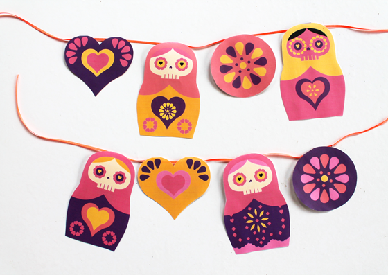 Cute Russian Doll Day of the Dead paper garland. Free!