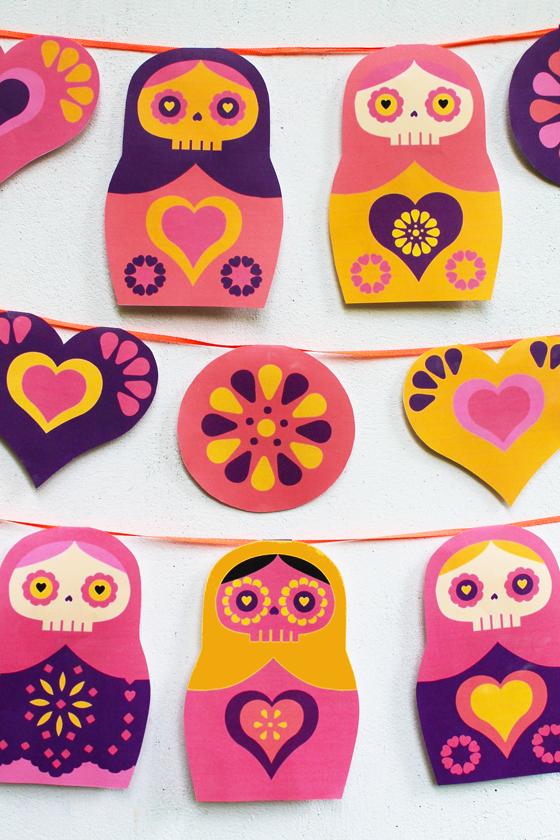 Day of the Dead garland featuring russian doll images and designs!