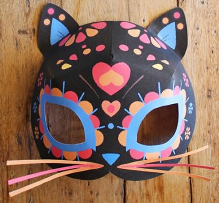 Free printable calavera cat mask. Easy to make!